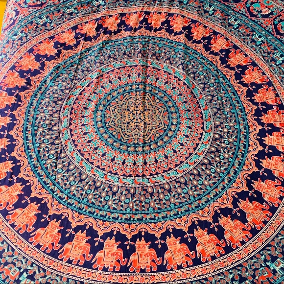 Tapestry Other - Boho Hippie Blue Peacock Elephant Tapestry